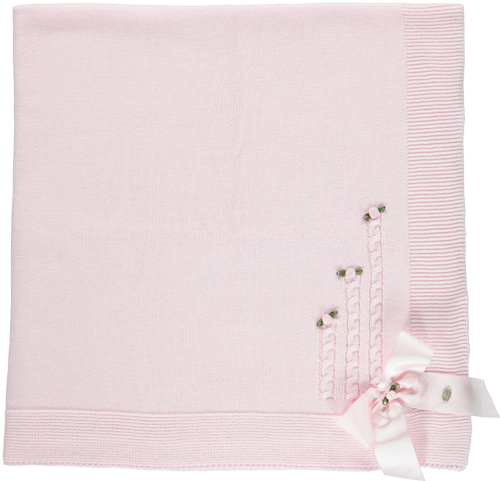 Piccola Speranza Baby Pink Rose Blanket
